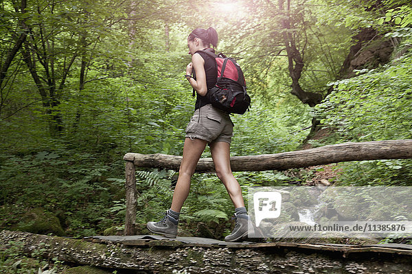 Caucasian woman hiking in forest