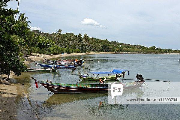 Longtailboot  Fischerboot am Thong Tanod Pier  Taling Ngam Beach  Insel Koh Samui  Thailand  Asien