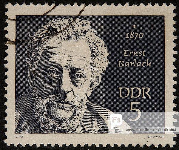 Deutsche Briefmarke  DDR  Porträt des Bildhauers und Schriftstellers Ernst Barlach