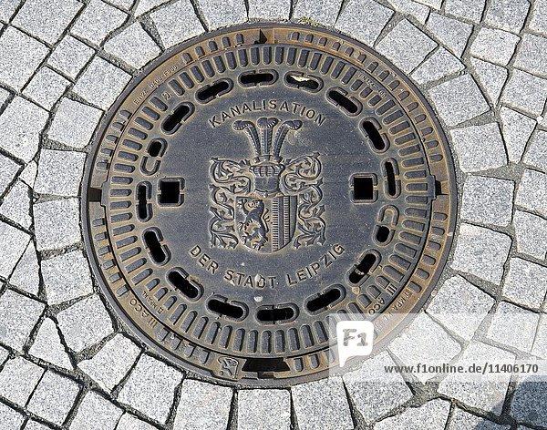 Kanaldeckel  Leipzig  Sachsen  Deutschland  Europa