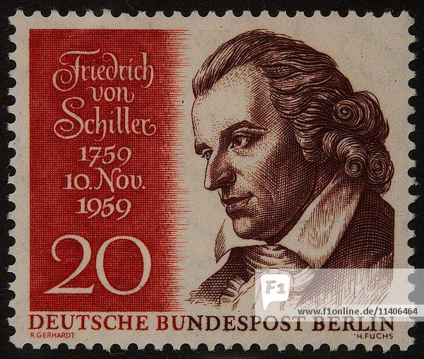 Friedrich von Schiller  ein deutscher Dichter  Porträt auf einer deutschen Briefmarke 1959
