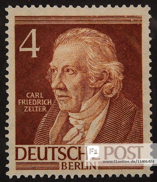 Carl Friedrich Zelter  ein deutscher Komponist und Dirigent  Porträt auf einer deutschen Briefmarke 1952