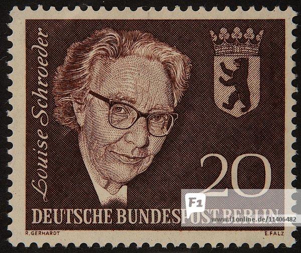 Louise Schroeder  ein deutscher Politiker  Porträt auf einer deutschen Briefmarke 1961