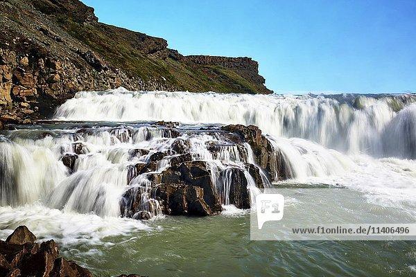 Gullfoss waterfall  Hvita River  Haukadalur  Golden Circle  Iceland  Europe