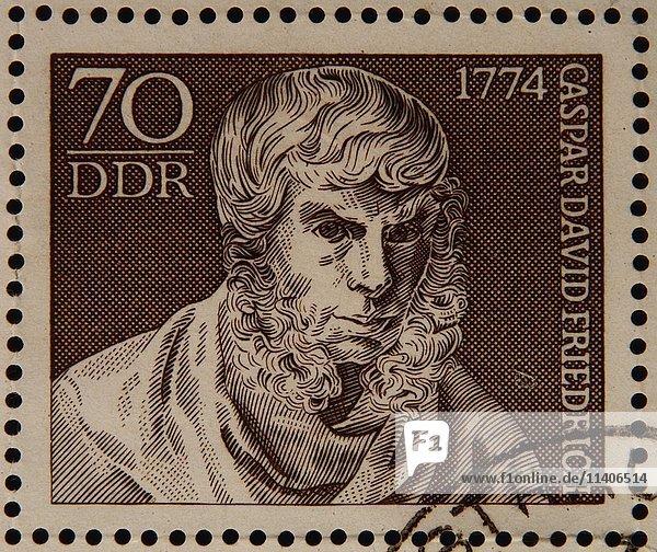 Deutsche Briefmarke  DDR  Porträt des Malers Caspar David Friedrich