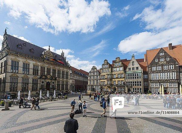 Marktplatz in der historischen Altstadt  Bremen  Deutschland  Europa