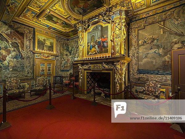 Innenraum  Loireschloss Cheverny  Département Loir-et-Cher  Frankreich  Europa