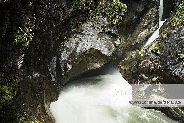 Wasser fließt durch Klamm  Wildgerlostal  Zillertal  Tirol  Österreich  Europa