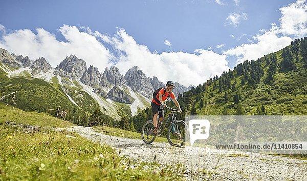 Mountain Biker rides a forest road  in the background mountain chain Kalkkögel  Stubai Alps  Tyrol  Austria  Europe
