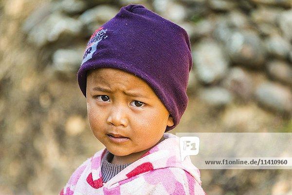 Little boy  portrait  Palaung hilltribe  Palaung Village in Kyaukme  Shan State  Myanmar  Asia