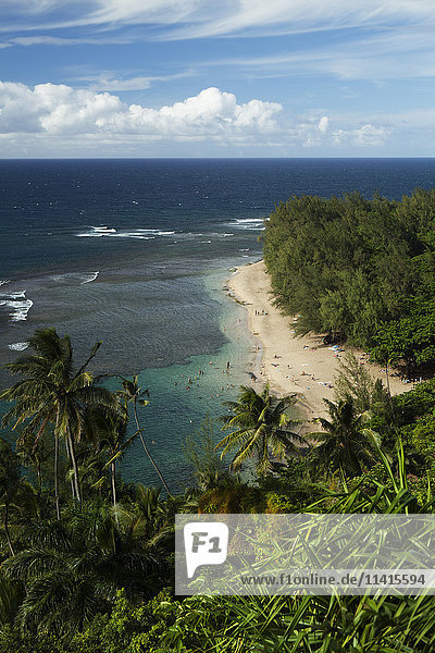 'Haena Beach State Park and Ke'e Beach from the Kalalau Trail  Na Pali Coast; Kauai  Hawaii  United States of America'