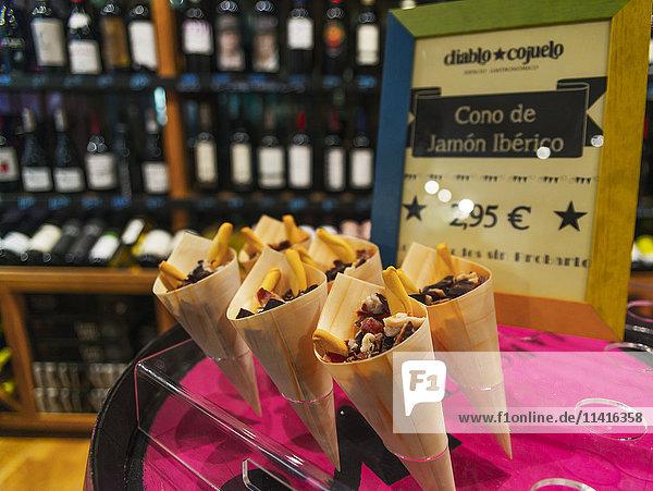 'Spanish ham cones  a traditional snack; Segovia  Castilla Leon  Spain'