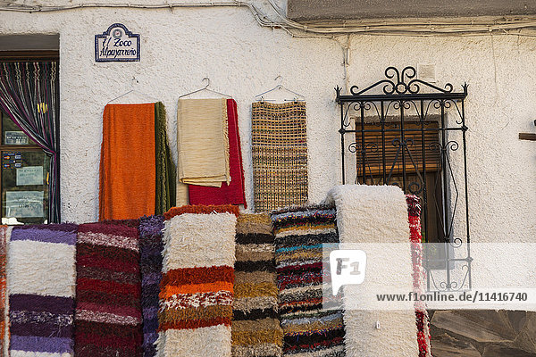 'Carpet shop in Alpujarra; Pampaneira  Granada Province  Andalucia  Spain'