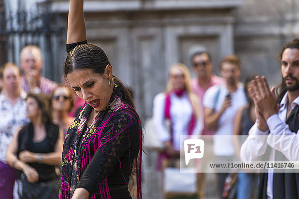 'Street flamenco dancers in Alonso Cano Square; Granada  Andalucia  Spain'