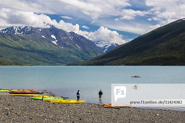 View of kayaks on Eklutna Lake in Chugach State Park  Alaska  Summer  USA.