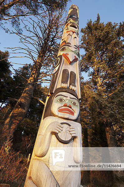 'A totem dedicated to Japanese photographer Michio Hoshino catches evening light in the winter at the Halibut Cove Recreation Area; Sitka  Alaska  United States of America'