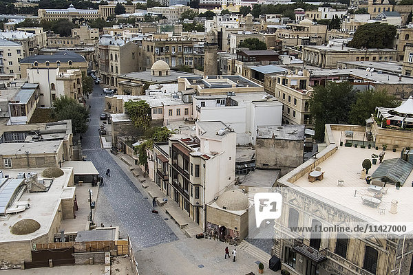 'View of the old city from the interior of the Maiden Tower; Baku  Azerbaijan'