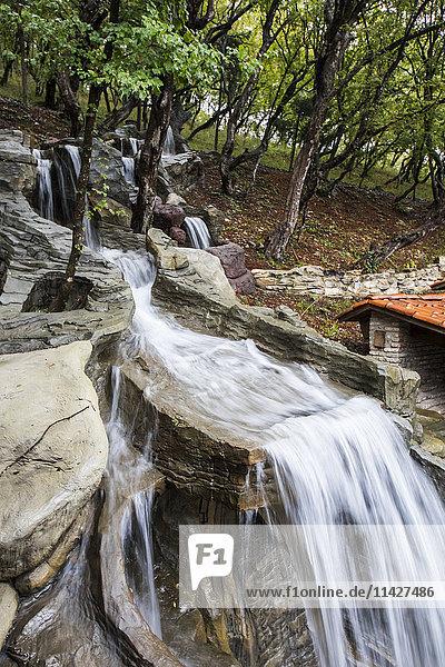 'Landscaped grounds of the Winery Khareba Tourist Complex at Kvareli Gvirabi; Kvareli  Kakheti  Georgia'