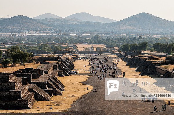 View of the Avenue of the Dead at Pre-Hispanic City of Teotihuacan  from the Pyramid of the Moon. San Juan Teotihuacán  State of Mexico  Mexico.