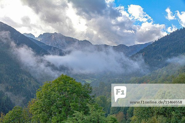 Mountains and clouds in Aran Valley Lleida Catalonia Spain.