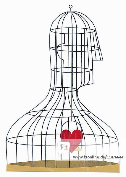 Herz in einem Vogelkäfig in Form eines Mannes