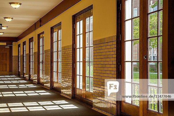 Hallway with glass doors.