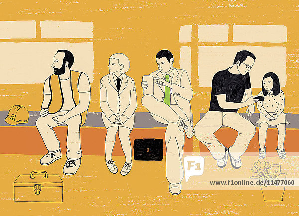 Menschen sitzen auf einer Bank  warten und benutzen mobile Geräte