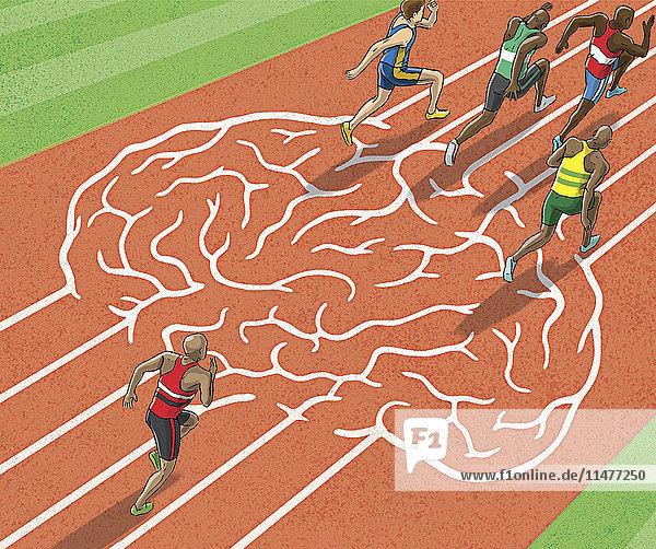 Sportler laufen auf Gehirn-Laufbahn