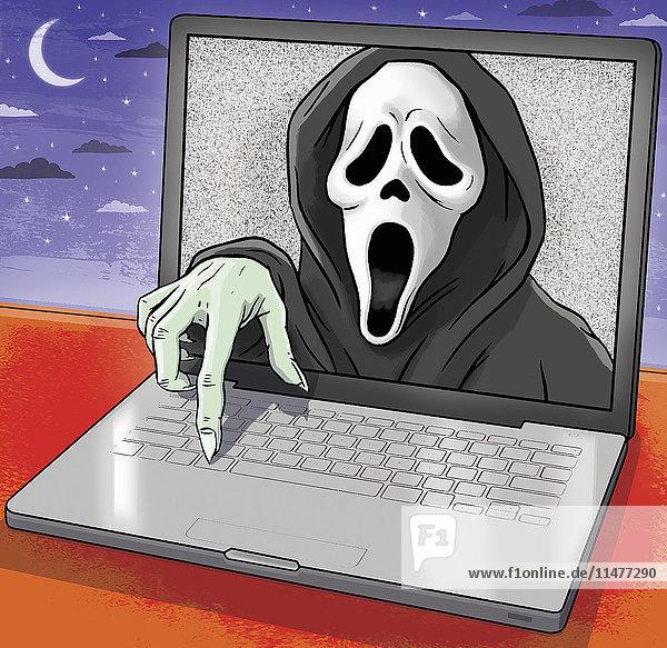 Der Schrei kommt aus einem Laptop-Monitor hervor