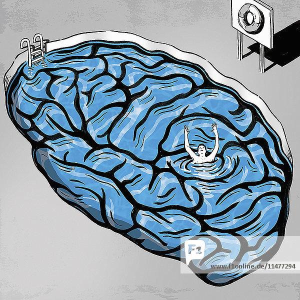 Mann geht in einem Gehirn-Swimmingpool unter