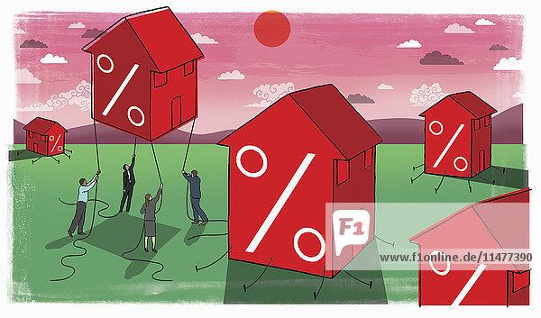 Geschäftsleute versuchen aufsteigendes Haus mit Prozentsymbol aufzuhalten