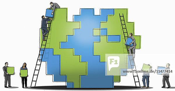 Geschäftsmänner und eine Frau errichten zusammen eine Würfelmauer
