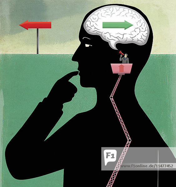 Mann mit einem Megafon schreit Richtung Gehirn eines Mannes