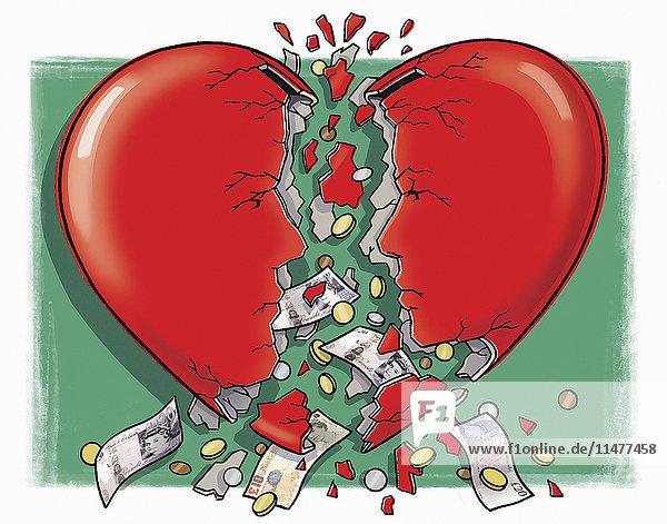 Geld fällt aus zerbrochener Sparbüchse in Herzform