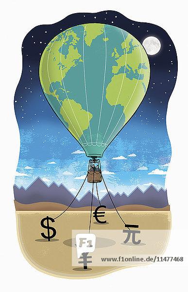 Geschäftsleute in einem Heißluftballon bei Nacht werden von Währungssymbolen gehalten