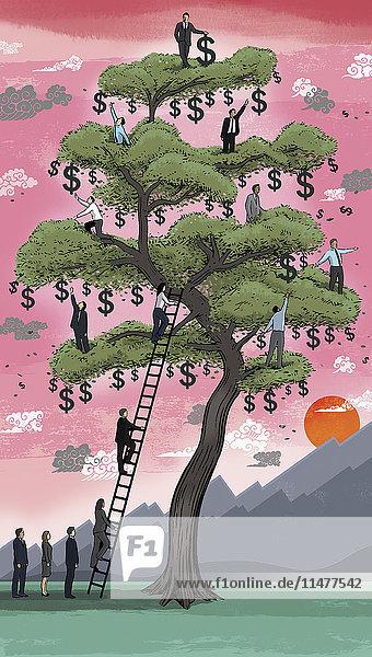 Geschäftsleute klettern auf einen Geldbaum