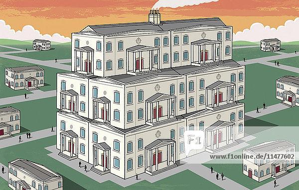 Großes Haus ragt aus der Nachbarschaft heraus