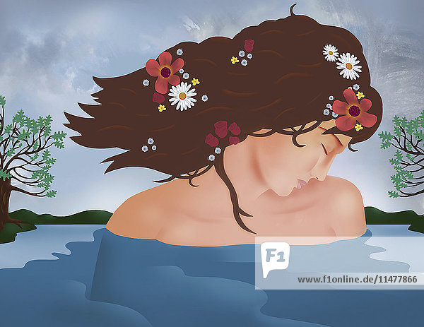Anmutige Frau in einem See