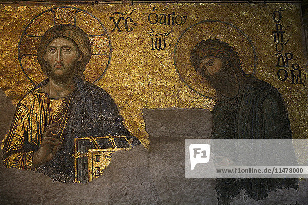 Turkey  Istanbul  wall mosaic with Christ Pantocrator at Hagia Sophia