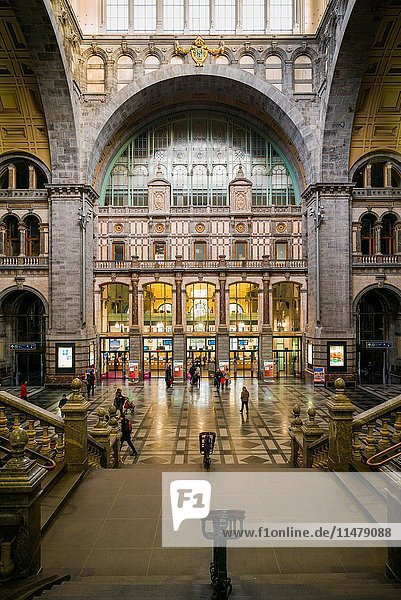 Belgium  Antwerp  Antwerpen-Centraal Train Station  1905  interior.