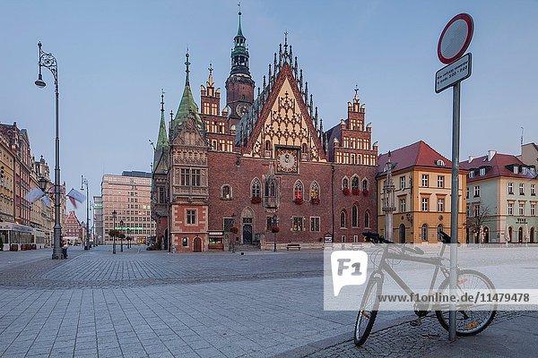 Dawn in Wroclaw old town  Poland.