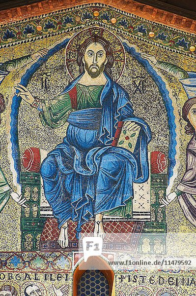 Close up of the 13th century Byzantine Mosaic panel depicting Christ Pantocrator on the Basilica of San Frediano  a Romanesque church  Lucca  Tunscany  Italy.