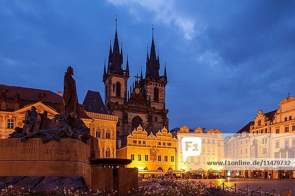 Before dawn on the market square in Prague old town  Czech Republic.