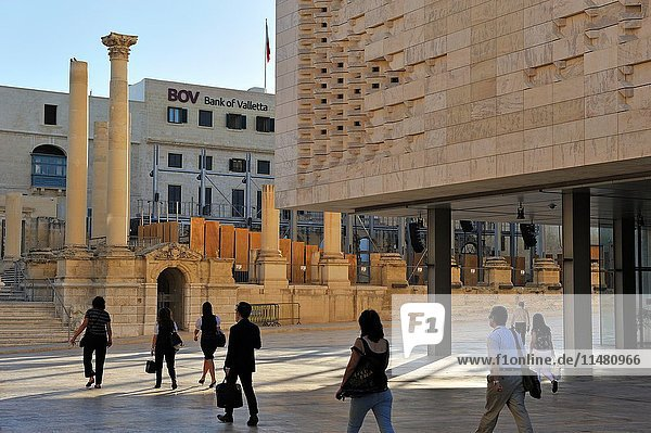 New Parliament House and the renovated ruins of the former Royal Opera House  designed by Renzo Piano  City Gate project  Valletta  Malta  Southern Europe.