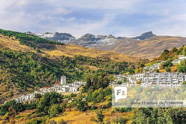 White village Capileira in the Alpujarra and the peak of Mountain Mulhacén  Andalusia  Spain.