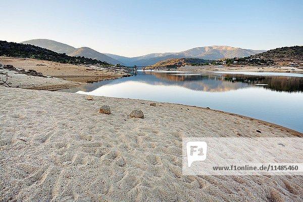 Drought in the Burguillo reservoir. Avila. Castilla Leon. Spain. Europe.