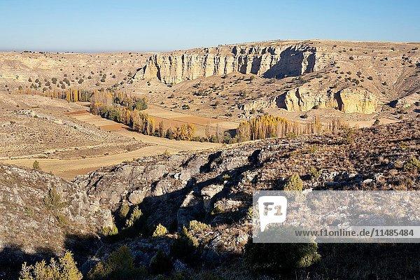 Canyon of river Riaza. Segovia. Castilla Leon. Spain. Europe.