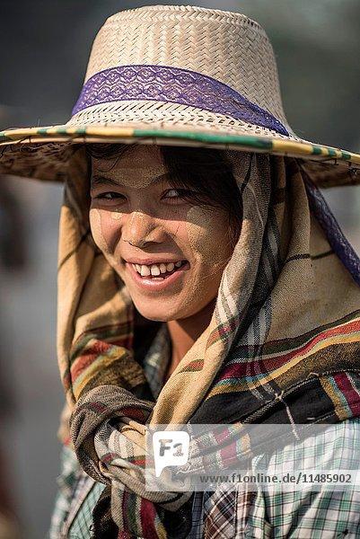 Portrait of a female road wroker in Bagan  Myanmar.