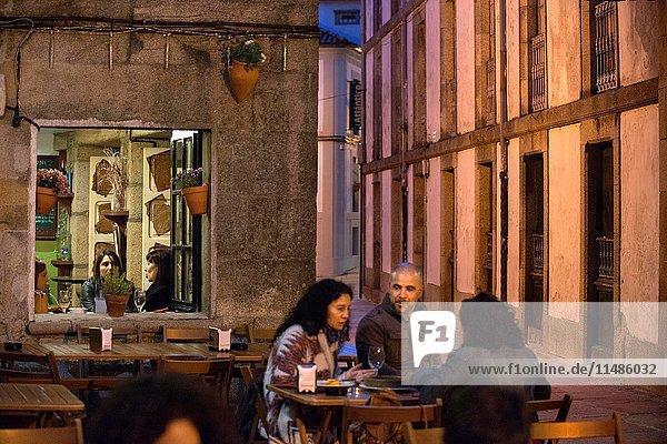Bars and restaurants in Old Town  Santiago de Compostela  UNESCO World Heritage Site  Galicia  Spain. The last stop of the Transcantabrico Gran Lujo luxury train.