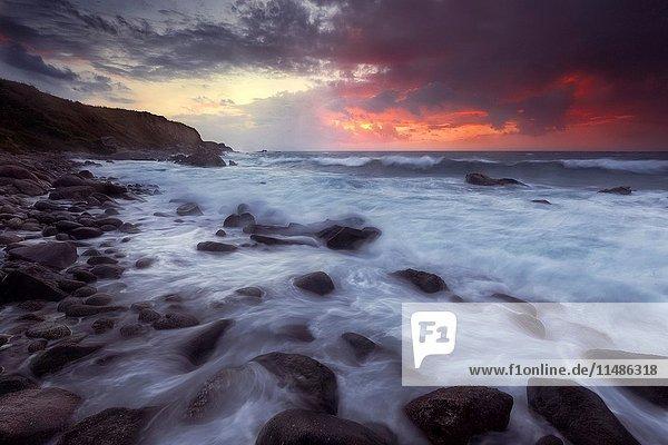 Briatico Coast  Briatico  Vibo Valentia  Tyrrhenian Sea  Calabria  Italy. Sunset in Briatico Coast.